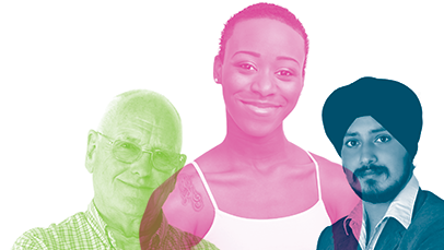 A banner image showing people's faces